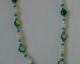 Blue Rhinestone Conch Shell Necklace