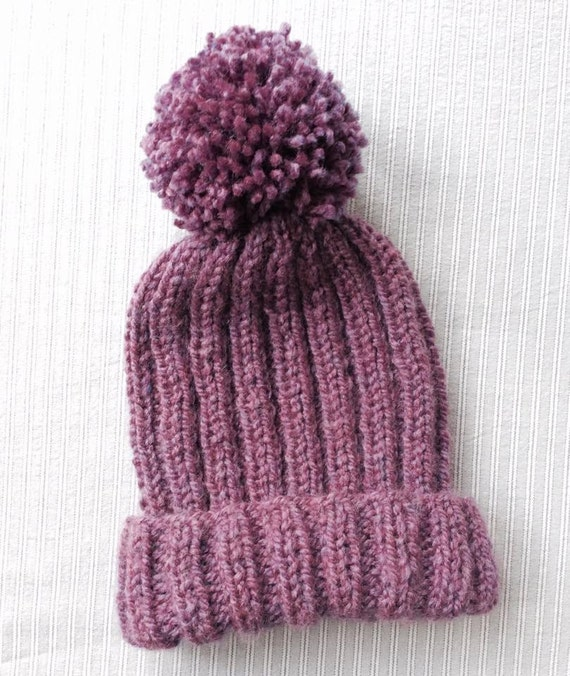 Knit Pom Pom Hat Pattern : Items similar to Knitted Ribbed Bobble Hat Pattern, pom ...