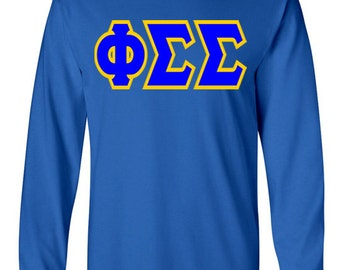 Phi Sigma Sigma Jumbo Twill Long Sleeve Tee (Royal/Light Gold)