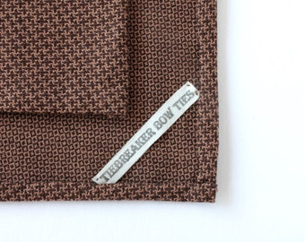 Brown Cross Pattern Pocket Square - Hand-Rolled Pocket Square - Mens Brown Handkerchief - Womens Tan Pocket Square