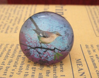 Bird On Tree Glass Cabochons,Handmade Glass Cabochon, Image Glass Dome Bead 12mm 14mm 16mm 18mm 20mm 25mm 30mm-br1004-D