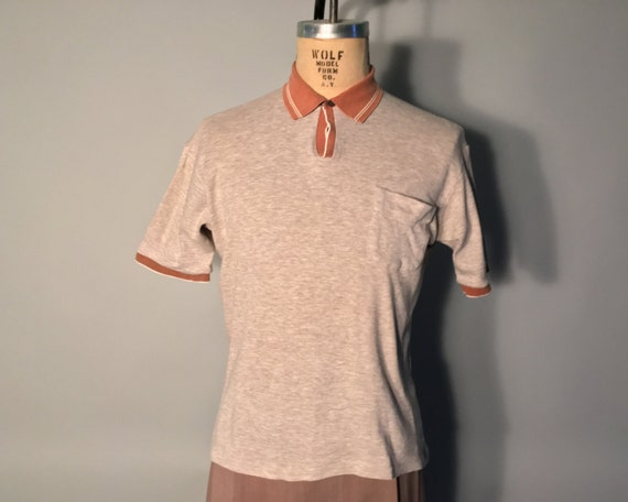 1950s Mens Shirt | Polo Shirt with Top Loop Collar by Its A Groucho | Large $48.00 AT vintagedancer.com