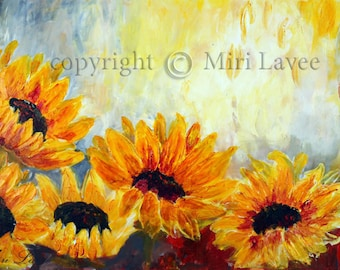 Paintings on Canvas, Large Wall Art Canvas, Oil Painting Canvas, Sunflower Painting Abstract, Textured Art Painting Landscape