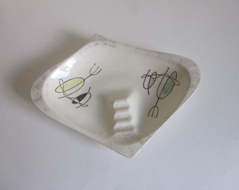 Vintage Atomic Mid Century Ashtray, Vintage Ceramic Atomic Ashtray, Vintage Large Atomic Ashtray