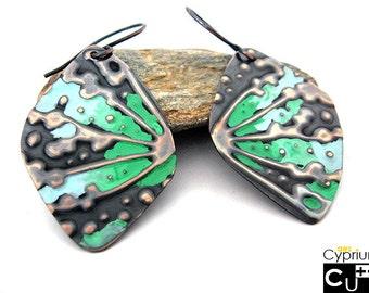 Handmade embossed copper earrings BOHO