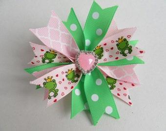 Valentine's Day Hair Clip, Pink & Green, Quatrefoil, Polka-dot, Prince Frog