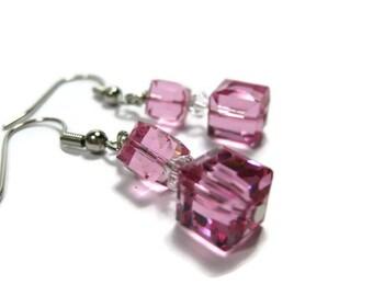 Pink Cubed Dangle Earrings