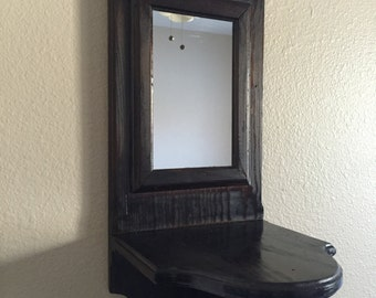 Vintage Wood Mirror/ Long Mirror/Wall Mirror /Rustic Decor/Handmade/ Candle Mirror/Candles Holders/Wall Mirror Shelf/Home Decor/N-1
