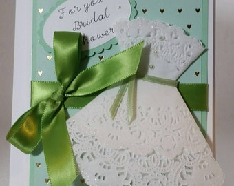 Unique Bridal shower card with doily dress