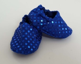 Baby shoes blue sequin pram crib shoes slippers newborn, baby shoe gift, party shoes, baby shoes, baby booties