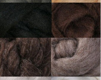 Corriedale Nature Collection 8 Colors, 4 Ounces Wool for Felting or Spinning