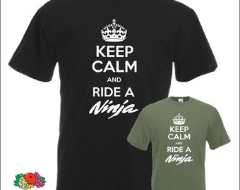 Keep Calm and Ride a Ninja T-shirt Kawasaki t shirt Motorcycle Biker Gift