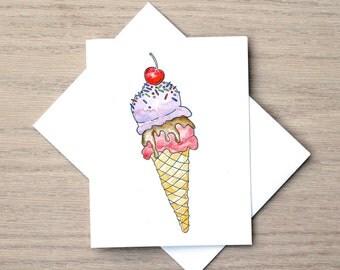 Ice Cream Card, Food Cart, Dessert Card, Art Card, Watercolor Card, Just Because