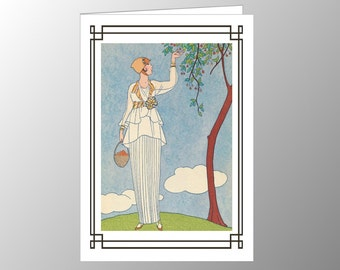 A handmade blank note card featuring an Art Deco fashion plate, 'La Saison des Prunes Mirabelles', by George Barbier