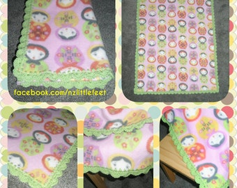 Polar Fleece Blanket with Crochet Edging