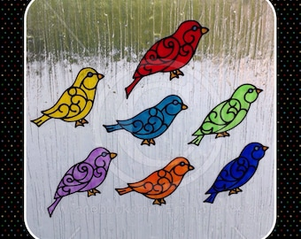 Bird window clings, set of 7 hand painted birds, reusable static cling bird decals, faux stained glass effect, decal, suncatcher