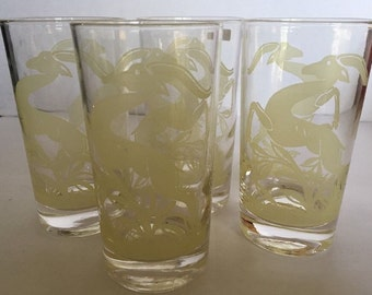 Set of Four (4) Federal Glass Yellow Gazelle/Antelope Glass Tumblers. ID#2-37