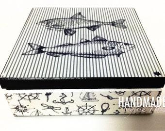 keepsake box, handmade wooden gift box, nautical, marine gift box, jewerly box, blue and white, navy blue, decorative box, gift idea