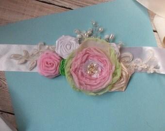 Bridal sash, wedding sash, wedding gown sash, bridal belt, bridal sash belt blush sash blush silk flower