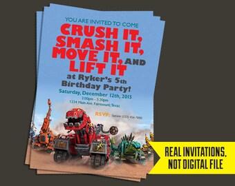 DinoTrux Invitation - DinoTrux Birthday Invitation