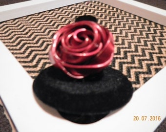 A Rose is a Rose is a Rose Red Aluminum Wrap Ring