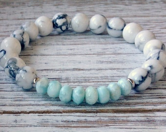 Howlite + Larimar Bracelet, Throat Chakra Jewelry, Wrist Mala Beads, Stress & Anxiety, Feminine Power + Communication + Emotionally Soothing