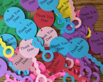 14 Personalized Baby Shower Favor Tags - Baby Rattle Tags -Shower Thank You Tags - Baby Shower - Gift Tags - Mini Rattles - Die Cut Rattle