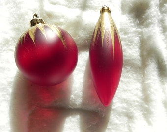 Vintage Red and Gold Holiday Ornaments