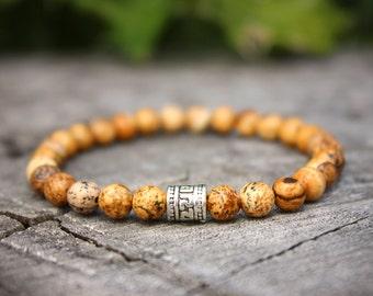 Picture Jasper Bracelet, Jasper Bracelet, Chakra Bracelet, Meditation Bracelet, Yoga Bracelet, Mens Beaded Bracelet, buddhist bracelet
