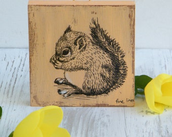 Miniature picture - squirrel print on wood, Pink squirrel wall art print, Wood sign, Shabby chic