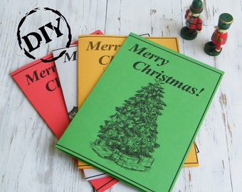 Greeting card, Christmas tree print, Christmas clipart, Holidays print, DIY, Digital card, Free gift