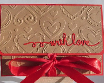 Gift Card Holder, Money Envelope, Embossed Money Holder, Red and Craft Paper Money Envelope, Any Occasion Money Holder, READY TO SHIP