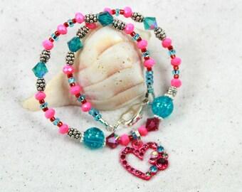 PINK HEART - Beaded Anklet, Summer Anklet, Pink Heart Anklet
