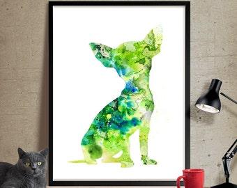 Dog Art, Chihuahua Art Print, Dog Watercolor Art, Dog Painting Wall Art Poster, Animal Art Decor, Watercolor Artwork (76)