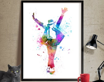 Michael Jackson Poster, Watercolor Painting, Watercolor Art, Wall Art, Wall Hanging, Michael Jackson Art Print, Music Poster, Decor(235)