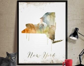 New York print, New York art, New York poster, New York wall art, Map of New York, Painted map art, watercolor, Wall Art, Decoration (293)