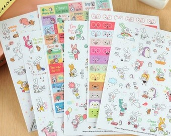 6 Sheets/set Book Sticker Rabbit Diary Scrapbook Calendar Notebook Label Decoration
