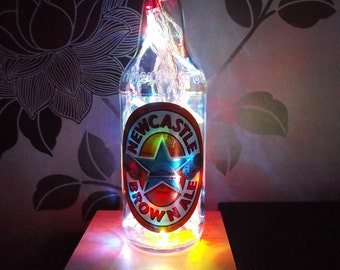 Upcycled Newcastle Brown Ale beer bottle lamp - ideal for home, office, bar, man cave ... ANYWHERE.