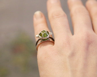 Chrysolite Ring, Unique  Silver Gem Ring, Handmade Silver Ring