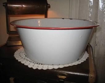 Vintage enameled metal basin rustic 1940/50