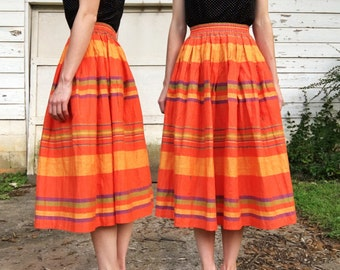 MOVING SALE Vintage 90s Liz Claiborne High Waisted Orange Purple Green Striped Midi Full Circle Skirt XS/S