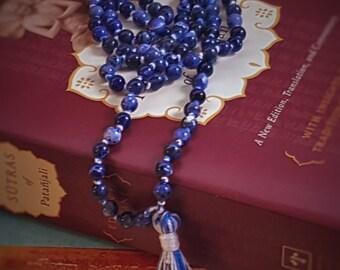 108 Sodalite Mala Prayer Beads, Mala Bead Necklace, Mala Necklace, Hand Knotted Necklace