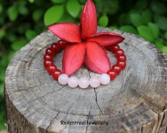 Ruby Red Jade & Rose Quartz Bracelet.