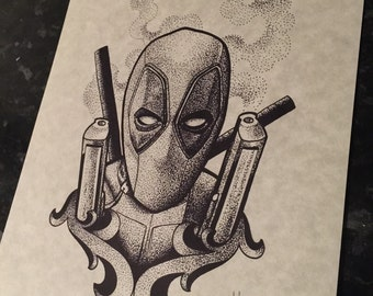 Fine line, Deadpool inspired dotwork A4 print. (Not tattoo flash) - please do not reproduce. Black dot work