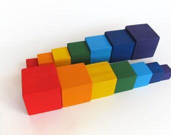 Wooden Blocks - Rainbow Blocks - Organic Wooden Toddler Toys - Waldorf Toy - Play Building Blocks - Baby Blocks - set of Fourteen