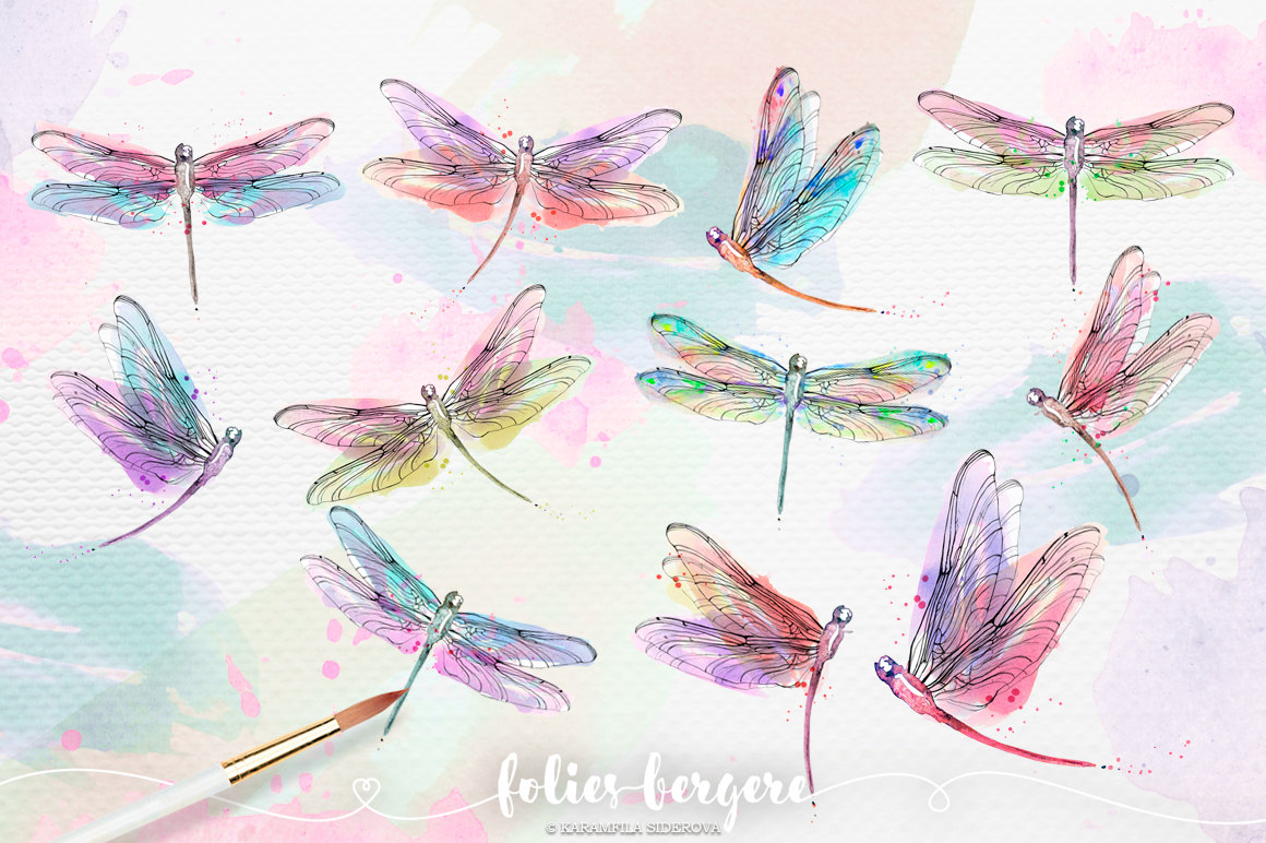 Dragonfly Planner Watercolor Dragonfly Clipart Colorful Wreath Peach Pink