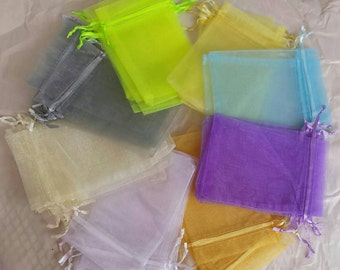 Pastel organza bags, 4x6, Assorted Light Colors, Pastel Colors, favors, wedding favors, jewelry, storage, party, drawstring bags