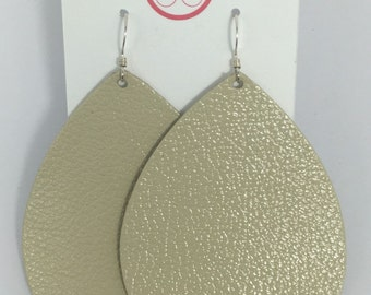 Ivory Leather Earrings