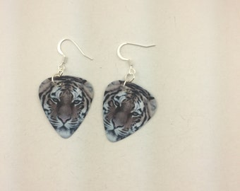 Tiger Guitar Pick earrings