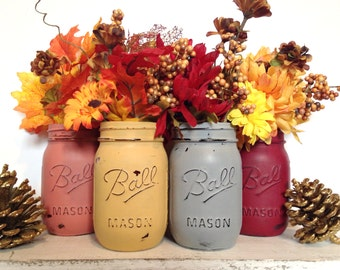 4 CUSTOM Fall/Thanksgiving Pint Mason Jars- Vases- Thanksgiving Decor- Fall Decor